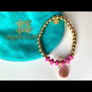 New RUSTIC CUFF Gold and Pink Stretch Bracelet